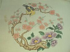 Needlepoint Hand Stitch Painted Canvas Gold Finch with Flowers 18 Count Mono