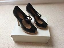 Faith Black Leather Cidney Heels - Size 5