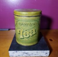 Vintage Ballonoff 1977 Golden Leaf Tea Tin Canister Container Cleveland OH