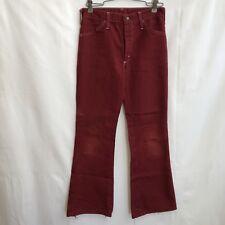 Vintage Bell Bottom Flared Jeans 70s Womens 26x26 Retro Burgundy Denim Misses 12