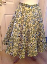 "Full Circle Swing Skirt Green Lime Floral 1950s Rockabilly  30"" Size 12"