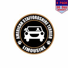 Limousine American Staffordshire Terrier 4 pack 4x4 Inch Sticker Decal