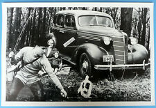 "1938 Chevrolet 4 Door 12 x 18"" Black & White Picture Family Fishing Michigan"