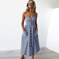 UK Womens Holiday Strappy Button Pocket Ladies Summer Beach Midi Swing Sun Dress
