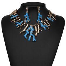 Zara elegante coral branch Collana + Orecchini Set-Blu
