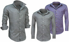 Crew Neck Checked Long Sleeve Casual Shirts & Tops for Men