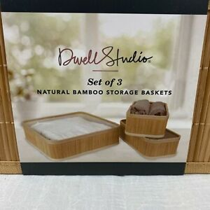 Dwell Studio 3 Natural Bamboo Storage Stackable Nesting Organizer Baskets New