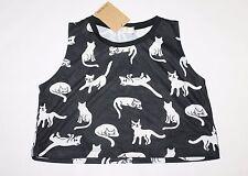 CHEEP Designer Black White Cat Print Crop Tank Singlet Top Size S BNWT #SR113