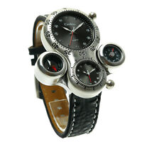 Cool Design Oulm Men's Japan Quartz Movement Sport Wrist Watch Leather Band