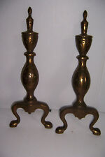 VINTAGE BRASS LOOK CAST IRON FIREPLACE ANDIRONS