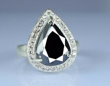 Valentine's Gift Black Diamond Solitaire Earthmined Ring 6.33 Ct. Pear Cut