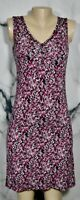 GAIAM Black White Magenta Print Solid Black Stretch Jersey Reversible Dress XS