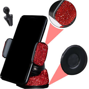 Red Rhinestone Phone Holder Clip  W/Suction Cup Fit Window Air Vent Euro Vehicle