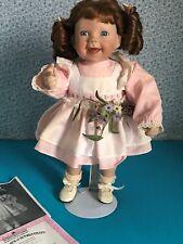 "Porcelain Julie 15"" doll Pink, White, stand, bloomers, socks, shoes original box"