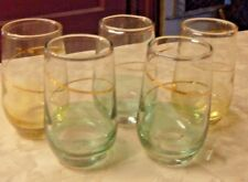 5 Small  Shot Glasses Color Bottom Blue & Yellow with Gold Rings RARE!!