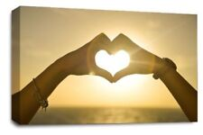 Love Heart Sunset Art Picture Orange Yellow Hand Home Canvas Wall Print