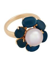 Mimi Milano Ring In 18K Rose Gold, Blue Topaz And Violet Pearl A308C3T