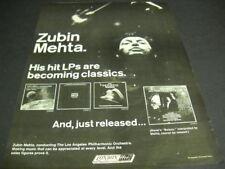 ZUBIN MEHTA his hit lps are becoming classics Original 1972 PROMO POSTER AD mint