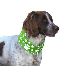 REFLECTIVE  *GREEN* PAW & BONE PRINT DOG SCARF/SNOOD - RUFFNEK® bandana for dogs