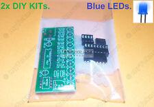 2x BLUE LED Light Sequencer Chaser Follower Scroller DIY KIT NE555 CD4017-Type-3