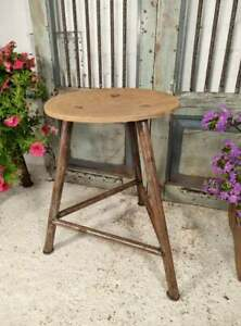 Vintage French European Rustic Industrial Machinist Stool Side Table Plant Stand