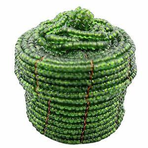 """Vintage Green Glass Seed Beaded Trinket Box Handmade Weaved Basket 2"""" W/Lid"""