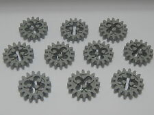 Lego Lot Of 10 Light Gray Technic, Gear 16 Tooth (Old Style Round Holes) Technic