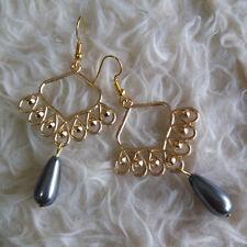 Waterdrop Beads Dangle Hook Earrings Womens Gold-Tone Chandelier Pearlize Gray