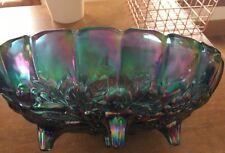 Vintage Iridescent Blue Carnival Glass Indiana Harvest Fruit Oval Footed Bowl