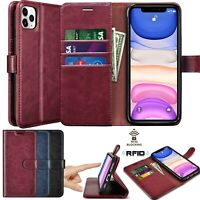 For iPhone 11/11 Pro MAX Leather Wallet Case RFID Blocking Magnetic Flip Cover
