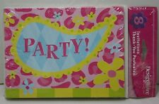 Party Pink Flower 8 Invitations & Thank You Postcards Party Supplies & Envelopes