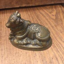 "Brass Miniature Calf Cow Hindu India Thai Figurine Art Statue Vintage 3"" Long"