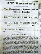 1863 Civil War newspaper THE SOUTH REACTION to LINCOLN EMANCIPATION PROCLAMATION