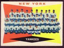 1960 TOPPS NEW YORK YANKEES TEAM  CARD NO:332 NEAR MINT