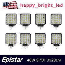"8PCS 4"" 48W Spot Cube Off Road LED Work Light SUV UTE ATV 4X4 Boat Truck Jeep HA"