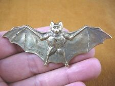(b-bat-100) bat wings spread brass pin pendant I love little bats Chiropterology