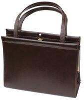Tasche Handtasche Vintage Henkeltasche Leder Imitat 50er60er Art Deco Braun Gold
