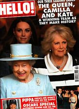 HELLO! #1216 12/03/2012 THE QUEEN, CAMILLA & KATE Pipa OSCARS SPECIAL @New@