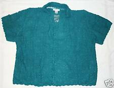 Plus Silhouettes Button Crochet Sweater Silk/Cotton 4X NWT
