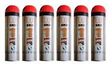6 X 500ml Traceur Chantier ROUGE FLUO TP SOPPEC Peinture de Marquage -TRACE000C