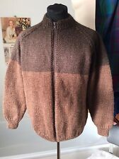 """hand knitted two tone brown wool thick zipper bomber style cardigan ~ M 38-40"""""""