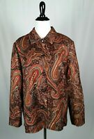 Coldwater Creek Blazer Jacket Large Burnt Orange Black Paisley Lined Cotton B154