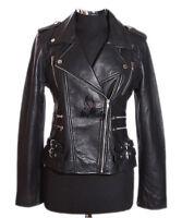 Ladies JESSIE BLACK New Biker Style Real Waxed Lambskin Leather Designer Jacket