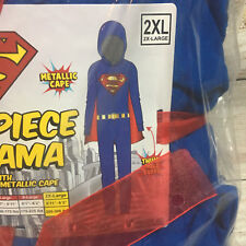 Superman Sz 2X XXL DC Comics One Piece Pajama Bodysuit Lounger Hoodie