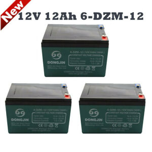 3 PACK 6DZN12 12V 12AH F2 6-DZM-12 UPS APC Scooter Medical Rechargeable Battery