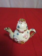 Flowered Jeweled Teapot with Hinged Lid Miniature White Enamel