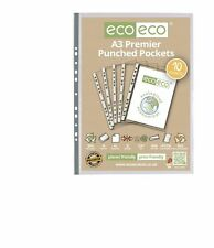10 x eco-eco A3 100% Recycled Premier Clear Portrait Punched Plastic Pockets