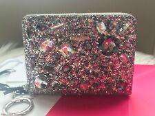 Kate Spade Silver Brighton Lane Dani Glitter Stone Jeweled Wallet WLRU5160 $139