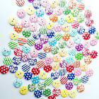 100pcs Mixed pattern Wood Buttons 2 Holes Sewing 15mm Craft Sewing Scrapbook