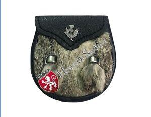 Scottish Baby Kilt Sporran Grey Rabbit Fur Kids Boy Sporrans Black Leather Chain